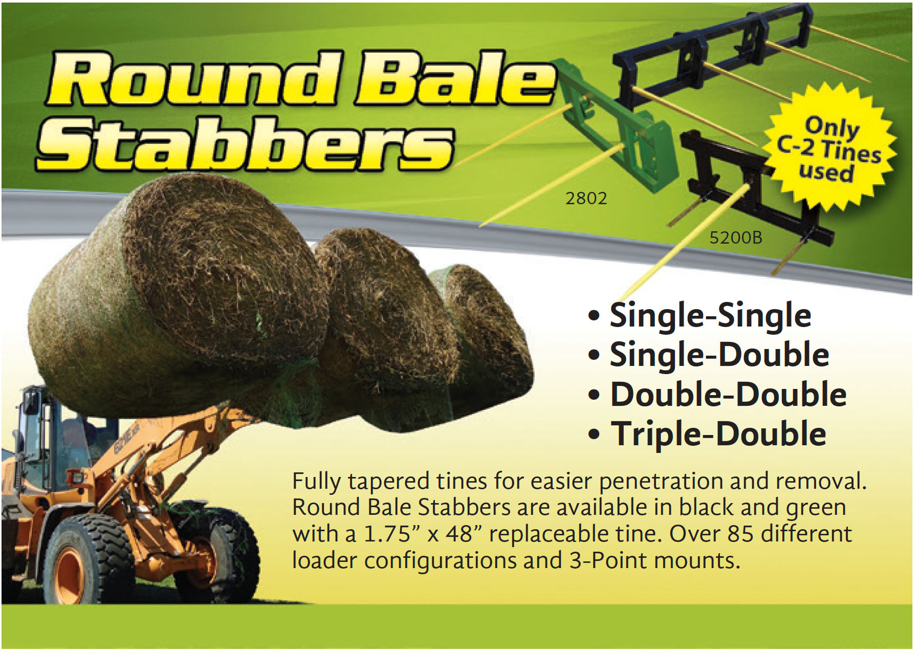 Bale stabbers for large round bales