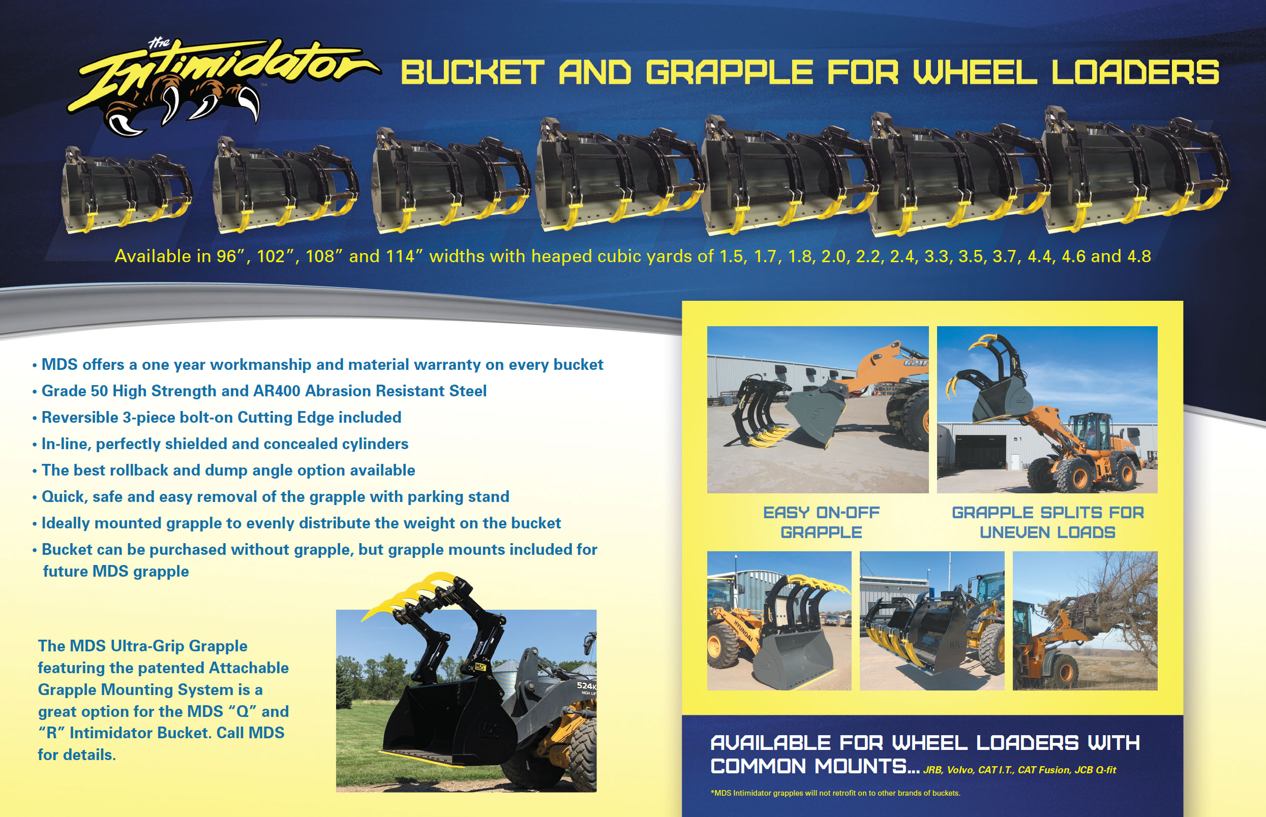 Buckets and grapple for telehandlers and wheel loaders