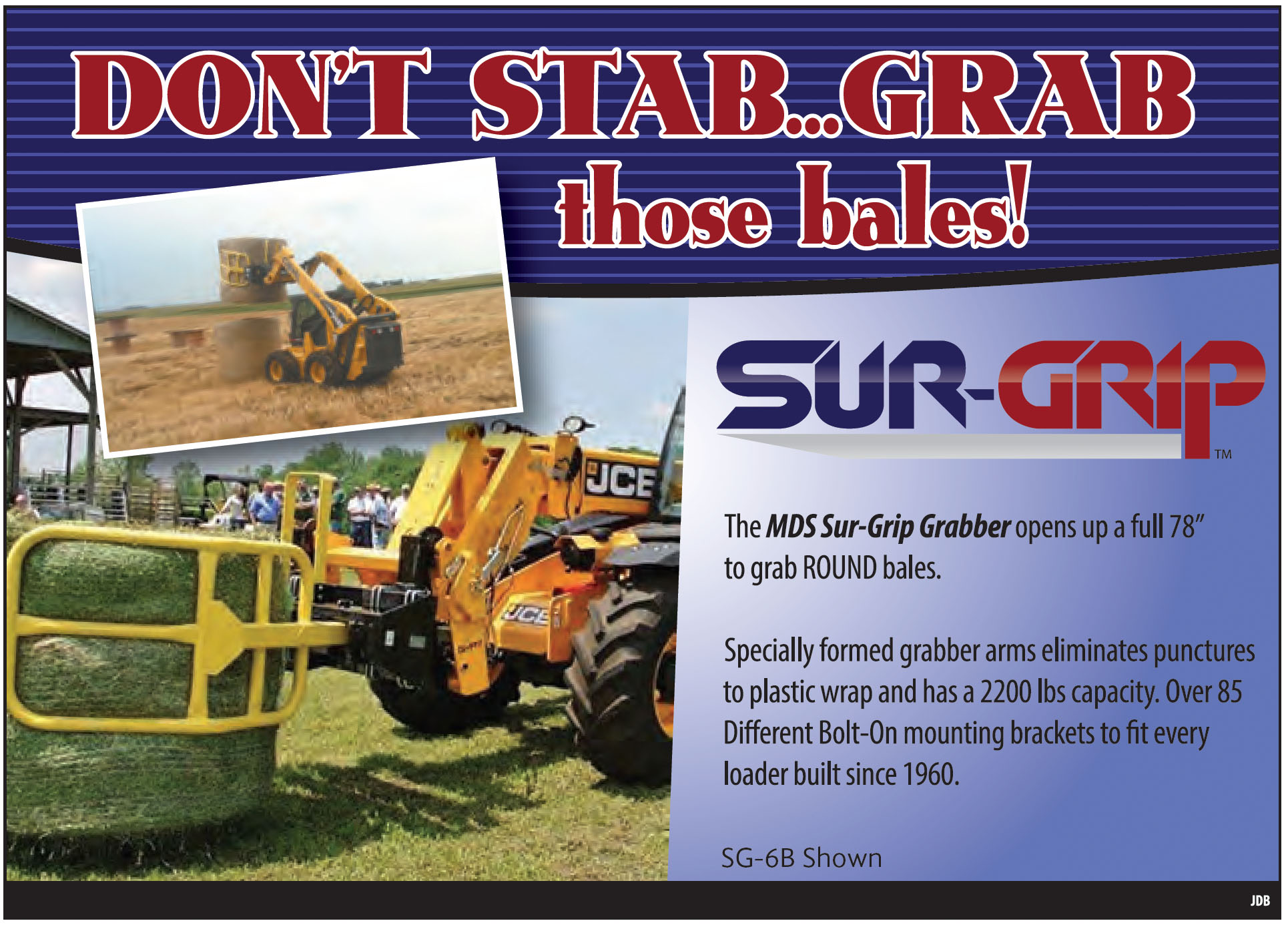 Bale grabbers for large round balers
