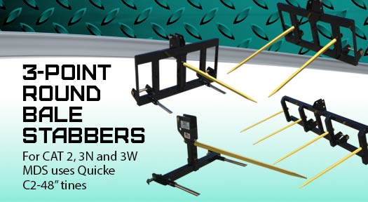 3-point round bale stabbers