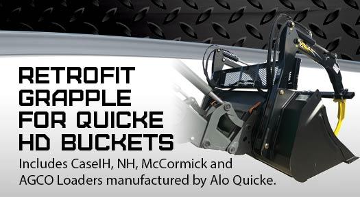 Retrofit grapple for Quicke HD buckets